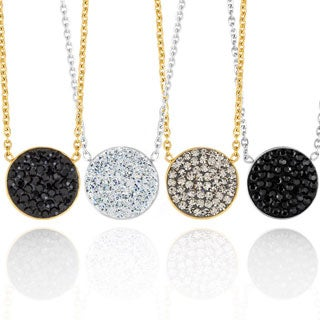 ELYA Crystal Circle Stainless Steel Pendant Necklace
