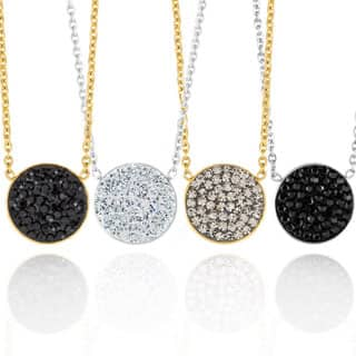 ELYA Stainless Steel Crystal Circle Necklace|https://ak1.ostkcdn.com/images/products/P15543369m.jpg?impolicy=medium