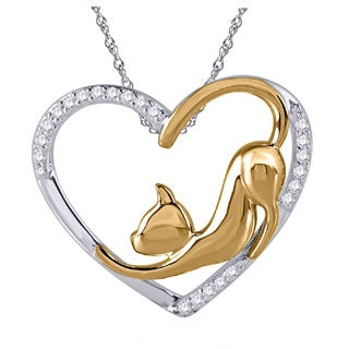 Tender Voices Sterling Silver with 10k Micron Plating 1/10ctTW Cat Heart Diamond Necklace