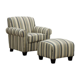 Handy Living Mira Coastal Blue Stripe Arm Chair and Ottoman