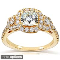 Annello by Kobelli 14k Gold 1 7/8ct TGW Cushion-cut Moissanite and Diamond 3-Stone Halo Engagement Ring