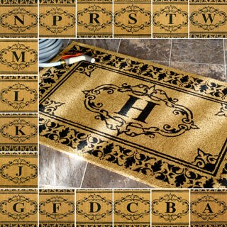 nuLoom Estate Brown Coir Monogrammed Welcome Door Mat (3' x 6')
