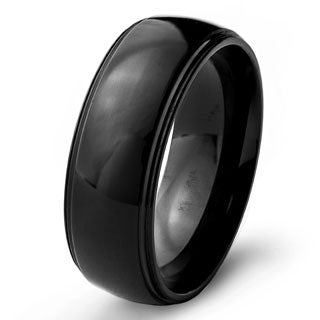 Men's Black Plated Stainless Steel Domed Comfort Fit Ring (8mm)