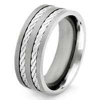 Crucible Titanium and Sterling Silver Men's Double Rope Inlay Ring