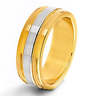 Two-tone Stainless Steel Men's Flat Ring - White (5 options available)