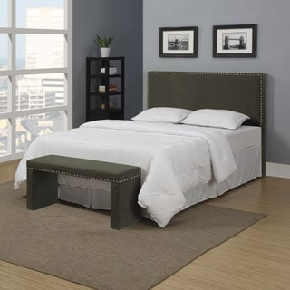 Portfolio Upton Basil Gray Linen Full/ Queen Headboard and Bench Set