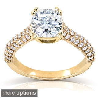 Annello by Kobelli 14k Gold Cushion-cut Moissanite and 1/2 ct TDW Diamond Engagement Ring