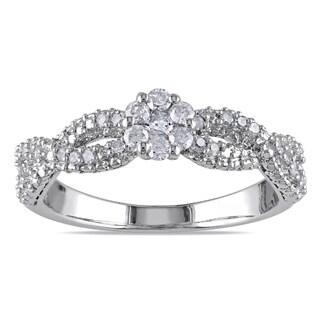 Miadora Sterling Silver 1/3ct TDW Braided Diamond Ring (H-I, I2-I3)