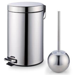 Cook N Home Stainless Steel Step Trash Bin Toilet Brush Set
