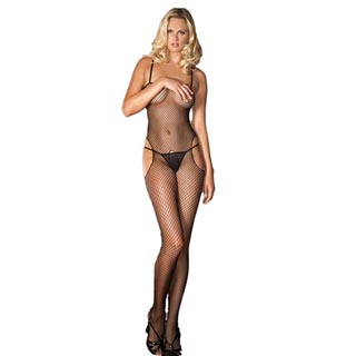 Rene Rofe Black Fishnet Sensual Bodystocking