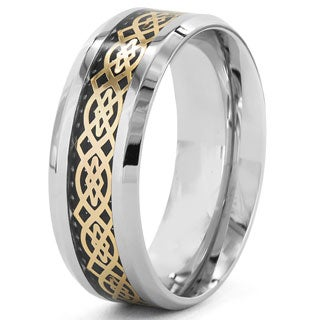Crucible Gold Plated Steel Black Carbon Fiber Inlay Celtic Ring (5 options available)