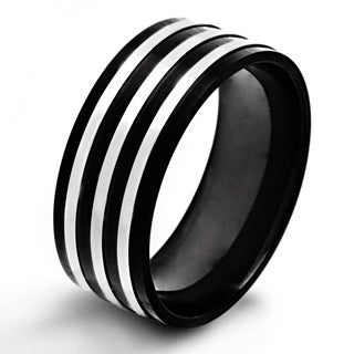 Crucible Black Plated Stainless Steel Triple Stripe Flat Ring