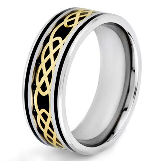 Crucible Stainless Steel Black Carbon Fiber Inlay Ring with Gold Plated Celtic Knot