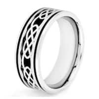 Crucible Stainless Steel Carbon Fiber and Celtic Knot Design ring