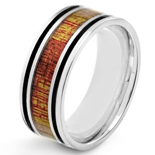 Crucible Stainless Steel Wood Inlay and Black Enamel Ring