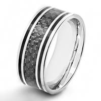 Crucible Stainless Steel Black Carbon Fiber Inlay Ring - White