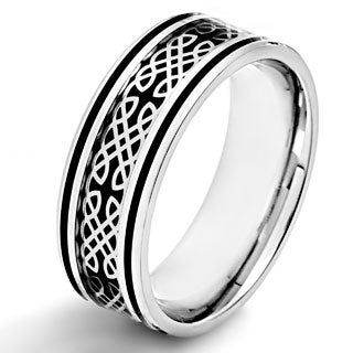 Crucible Stainless Steel Black Carbon Fiber Celtic Design Ring