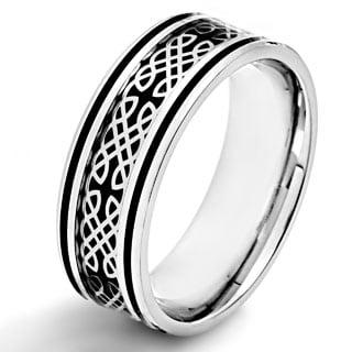 Crucible Stainless Steel Black Carbon Fiber Celtic Design Ring