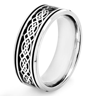 Crucible Stainless Steel Black Carbon Fiber Celtic Knot Design Ring