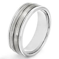 Men's Dual Finish Titanium Ribbed Stripe Inlay Comfort Fit Ring - 7mm Wide