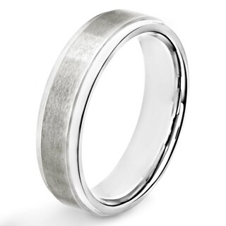 Men's Titanium Brushed and Polished Ridged Ring