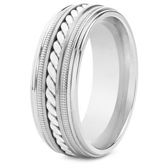 Crucible Titanium Sterling Silver Rope Inlay Ring
