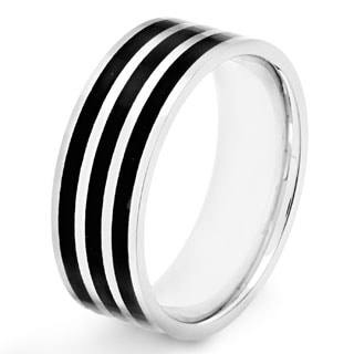 Crucible Polished Stainless Steel Black Striped Comfort Fit Ring - 8mm Wide