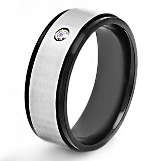 Crucible Stainless Steel Brushed Blackplated Cubic Zirconia Band