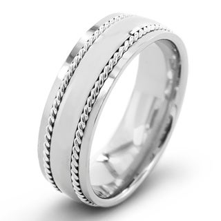 Men's Polished Titanium with Sterling Silver Rope Inlay Comfort Fit Ring - 7mm Wide