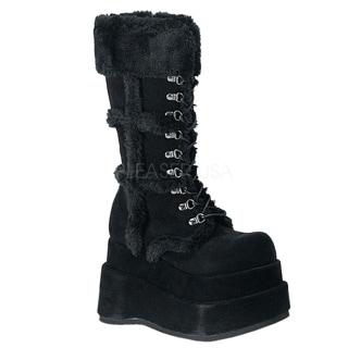 Demonia 'BEAR-202' Women's Punk Goth Stacked Platform Black Suede Calf Boots