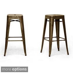 French Industrial Modern Bar Stools (set of 2)