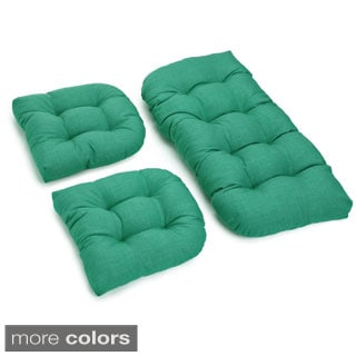 Blazing Needles Outdoor Spun Poly Settee Group Cushions (Set of 3)