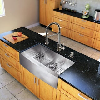"VIGO All-In-One 30"" Camden Stainless Steel Farmhouse Kitchen Sink Set With Edison Faucet In Stainless Steel"