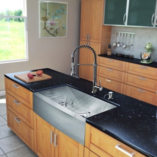 VIGO All-in-One 36-inch Stainless Steel Farmhouse Kitchen Sink and Edison Stainless Steel Faucet Set