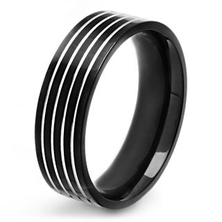Men's Black Plated Polished Stainless Steel Silver Striped Grooved Comfort Fit Ring - 7mm Wide