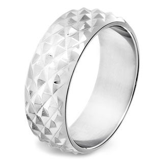Stainless Steel Men's Diamond-cut Stud Band