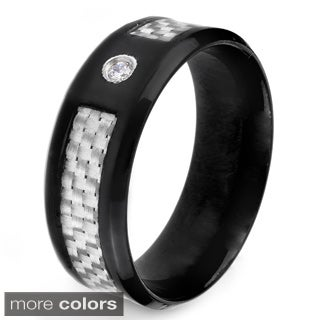 Crucible Polished Stainless Steel Carbon Fiber Inlay Cubic Zirconia Beveled Ring - 8mm Wide