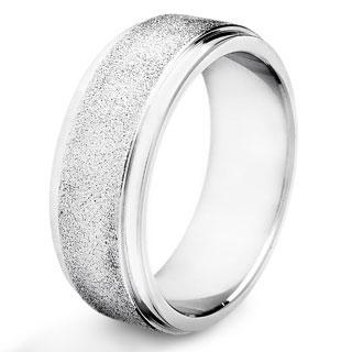 Crucible Stainless Steel Sandblasted Finish Band Ring