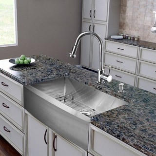"""VIGO All-In-One 36"""" Bedford Stainless Steel Farmhouse Kitchen Sink Set With Harrison Faucet In Chrome"""