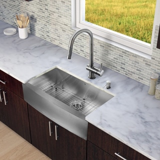 VIGO All-in-One 36-inch Stainless Steel Farmhouse Kitchen Sink and Gramercy Stainless Steel Faucet Set