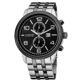August Steiner Men's Swiss Quartz Coin-edge Bezel Black Bracelet Watch