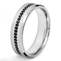 Stainless Steel Men's Black Cubic Zirconia Brushed Band