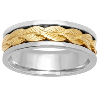 14k Two-tone Gold Women's Comfort Fit Handmade Leaf Wedding Band