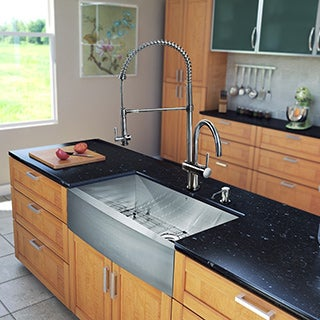 VIGO All-in-One 33-inch Stainless Steel Farmhouse Kitchen Sink and Dresden Stainless Steel Faucet Set
