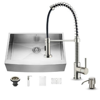 VIGO All-in-One 33-inch Stainless Steel Farmhouse Kitchen Sink and Edison Stainless Steel Faucet Set