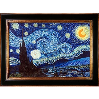 Vincent Van Gogh 'Starry Night' Hand Painted Framed Canvas Art