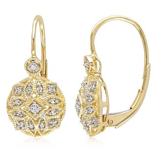 Miadora 14k Yellow Gold 1/8ct TDW Diamond Vintage Cluster Leverback Earrings