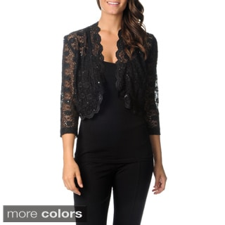 R & M Richards Women's Sheer Lace Shrug