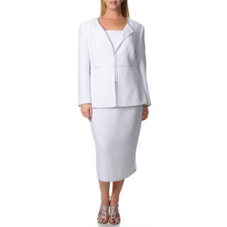 Giovanna Signature Women's Plus Embellished Skirt Suit