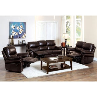 Furniture of America Jenington Traditional 3-piece Bonded Leather Recliner Sofa-Love-Chair Set